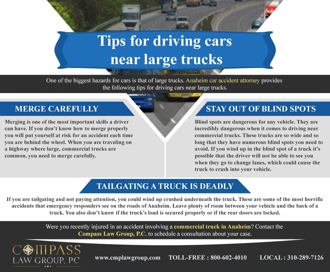 Tips for driving cars near large trucks