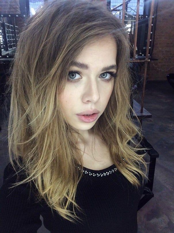 Aleksandra Smelova, women, green eyes, blonde, face, Sasha