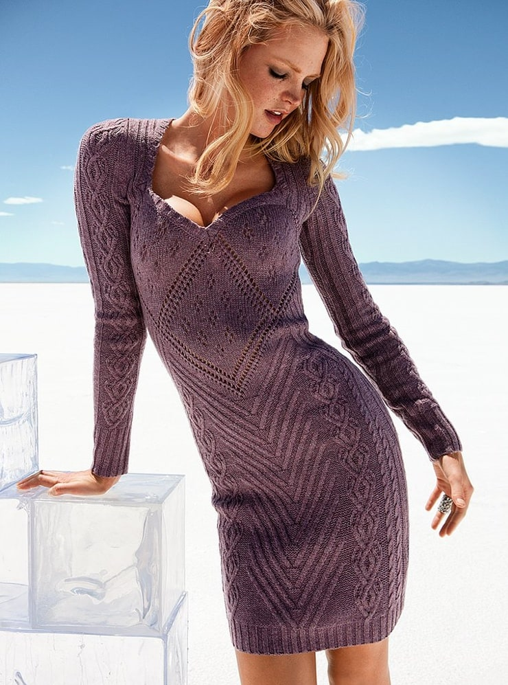 Вязаные спицами зимние платья