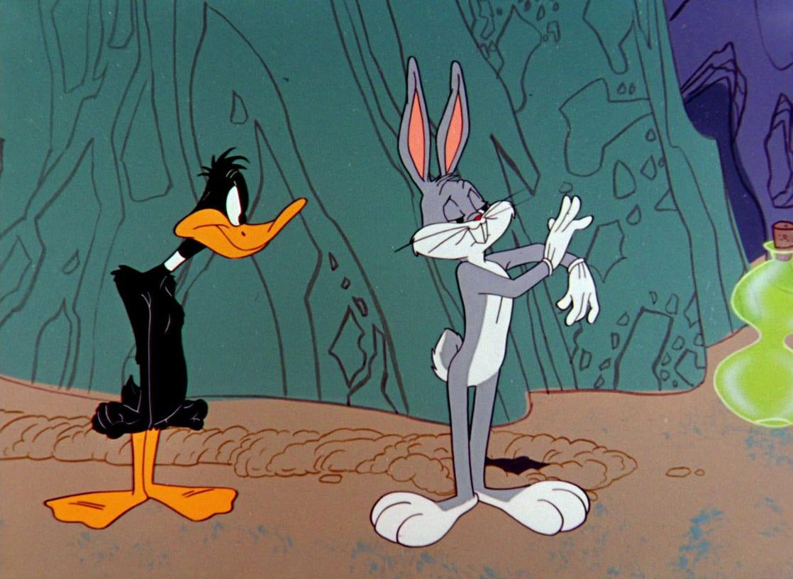Bugs bunny and daffy duck basketball