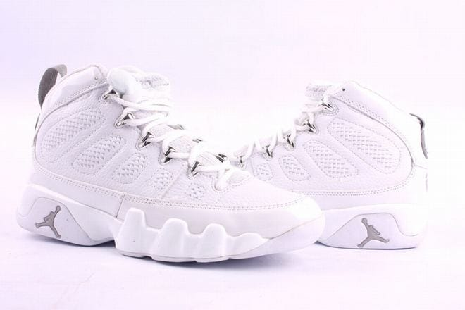 Picture of all white nike air jordan 9 men shoes