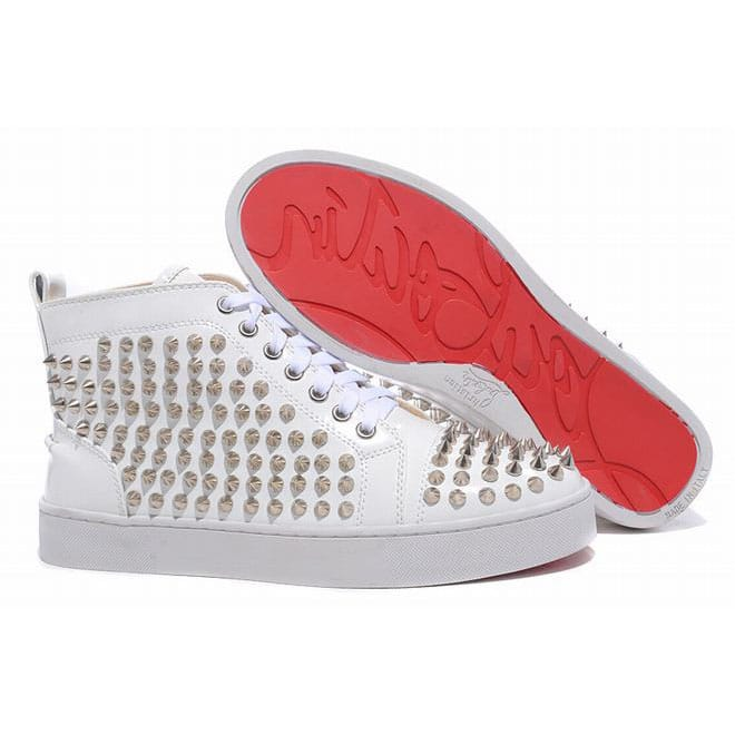 new concept 251d8 4b47e Picture of Red Bottom Christian Louboutin Louis Silver Spikes Men Sneakers  Leather White Patent