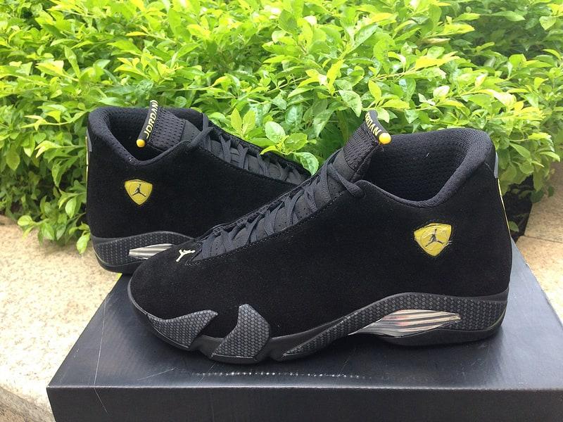 Picture Of Jordan Xiv 14 Retro Black Suede Ferrari On Feet