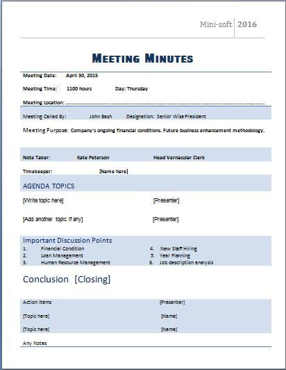 template minutes of meeting