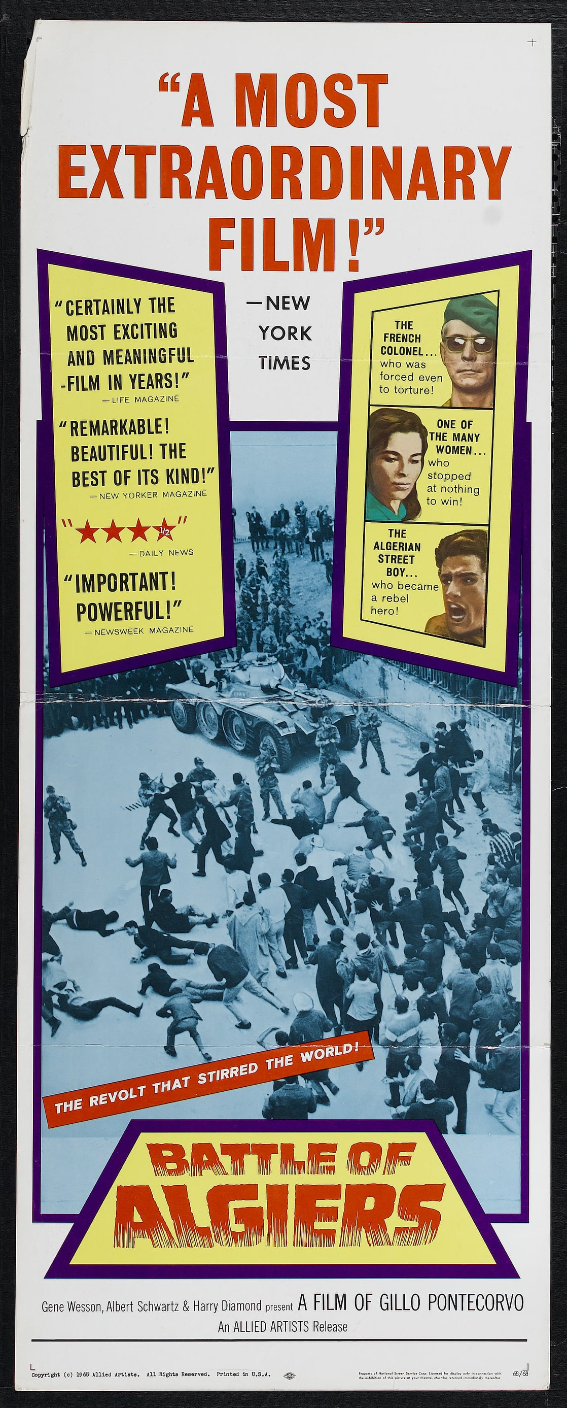 battle of algiers One of the most influential political films in history, the battle of algiers, by gillo pontecorvo, vividly re-creates a key year in the tumultuous algerian struggle for independence from the occupying french in the 1950s as violence escalates on both sides, children shoot soldiers at point-blank.